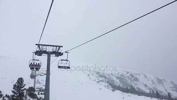 ski chair lift swivel chairs uk 1080 hyper lapse video clip four person stock hd of on a misty mountain footage