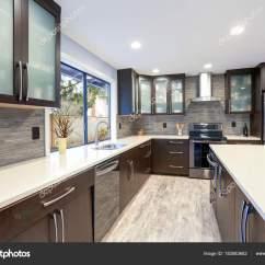 Updated Kitchens Franke Kitchen Faucets 更新现代厨房室内的白色和深色色调 图库照片 C Alabn 183583682
