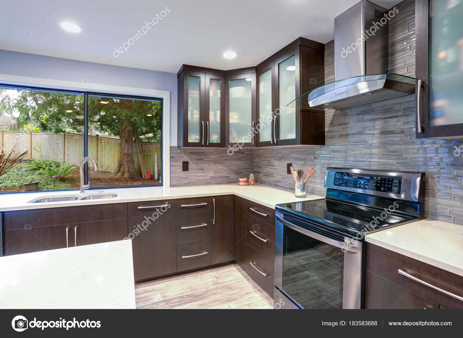 kitchen updates undermount sinks 更新现代厨房室内的白色和深色色调 图库照片 c alabn 183583688