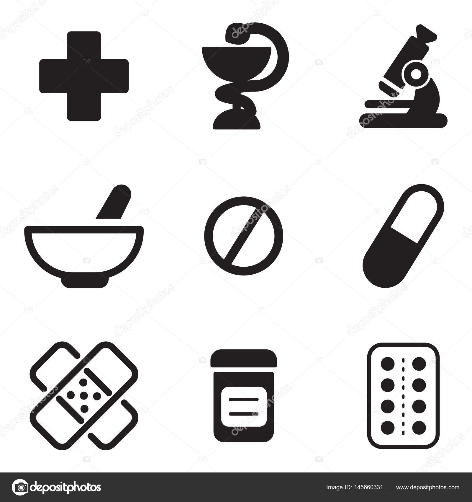 Pharmacy Icons Black & White — Stock Vector © Bakai #145660331