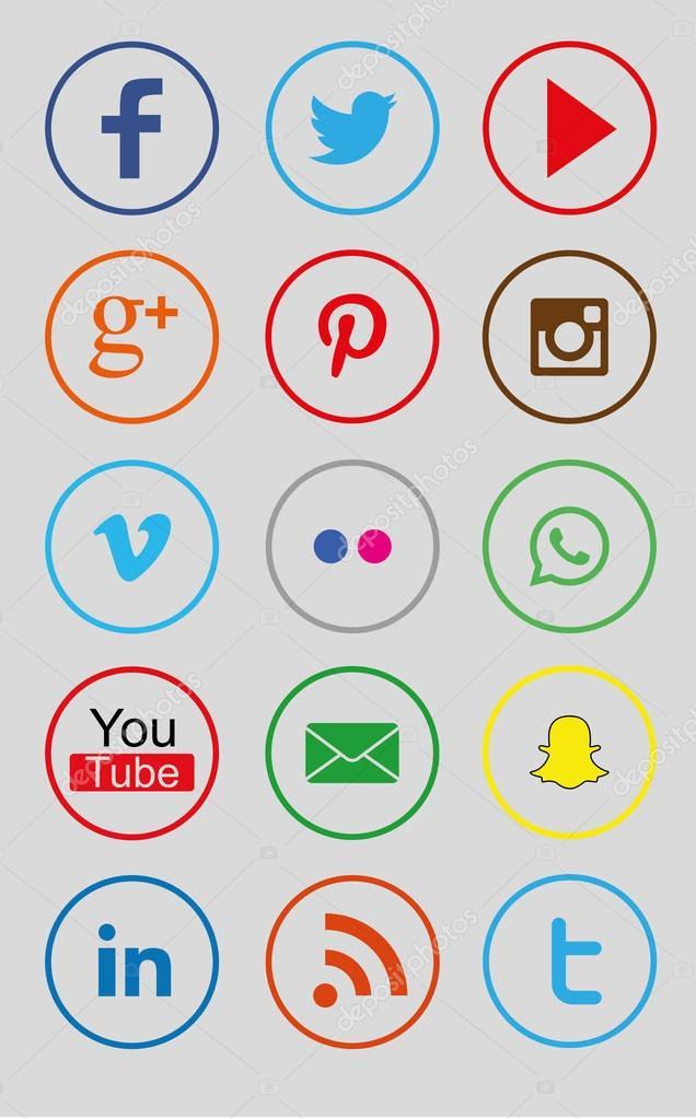 Twitter Facebook Instagram Icons : twitter, facebook, instagram, icons, Collection, Circle, Color, Social, Icons, Facebook,, Twitter,, Youtube,, Google, Plus,, Pinterest,, Instagram,, Vimeo,, Flickr,, WhatsApp,, Snapchat,, Mail,, LinkedIn,, Vector, Image, Bigxteq, Stock, 129810838