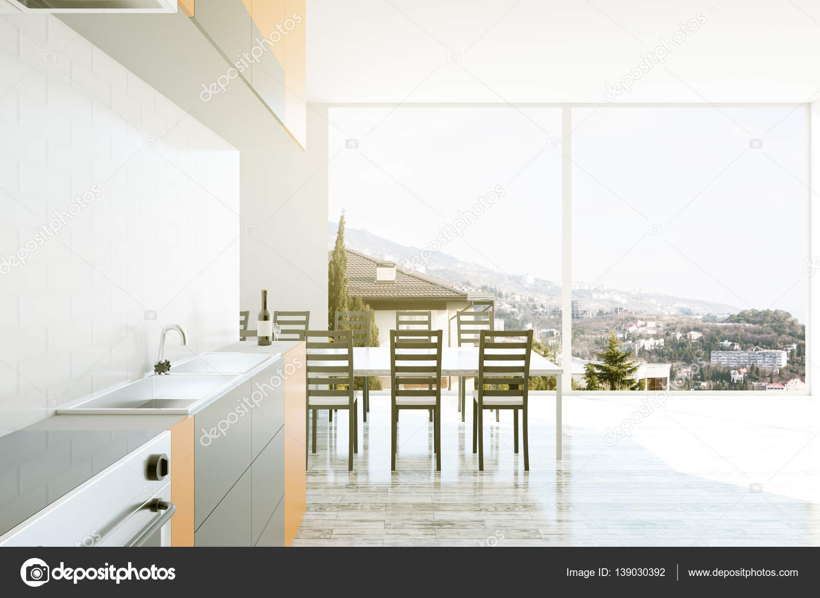 chairs for kitchen table prefab outdoor kits 室内装饰厨房 桌子和椅子 3d 渲染 图库照片 c peshkova 139030392 照片作者peshkova