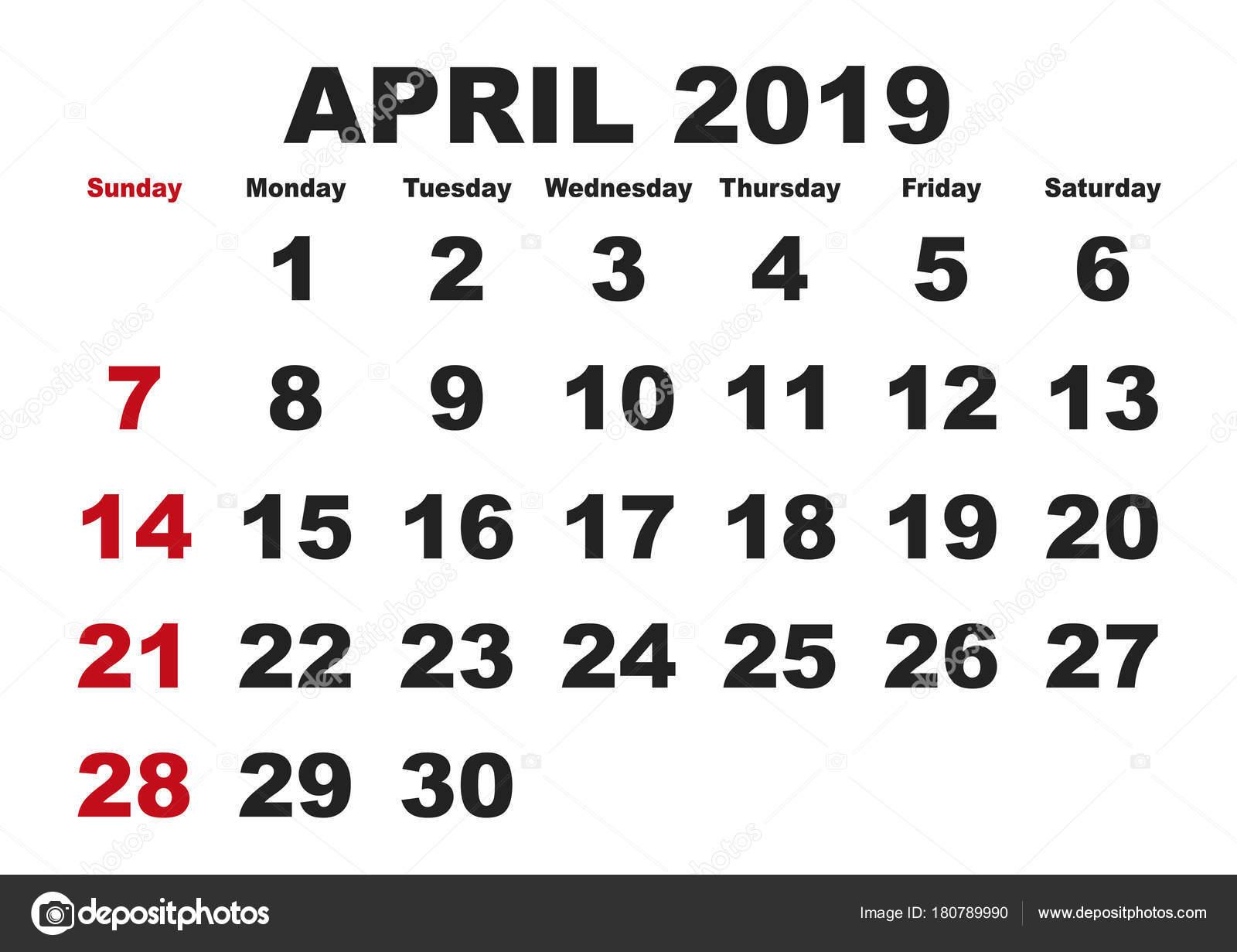Mes de abril calendario 2019 inglés Usa — Vector de stock