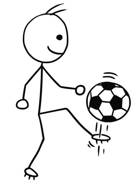 Vector Stickman Cartoon of Soccer Football Player Kicking