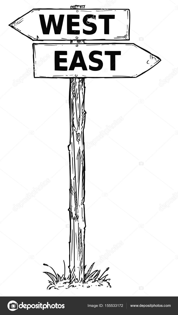 Dessin animé vecteur Direction signe avec deux flèches la