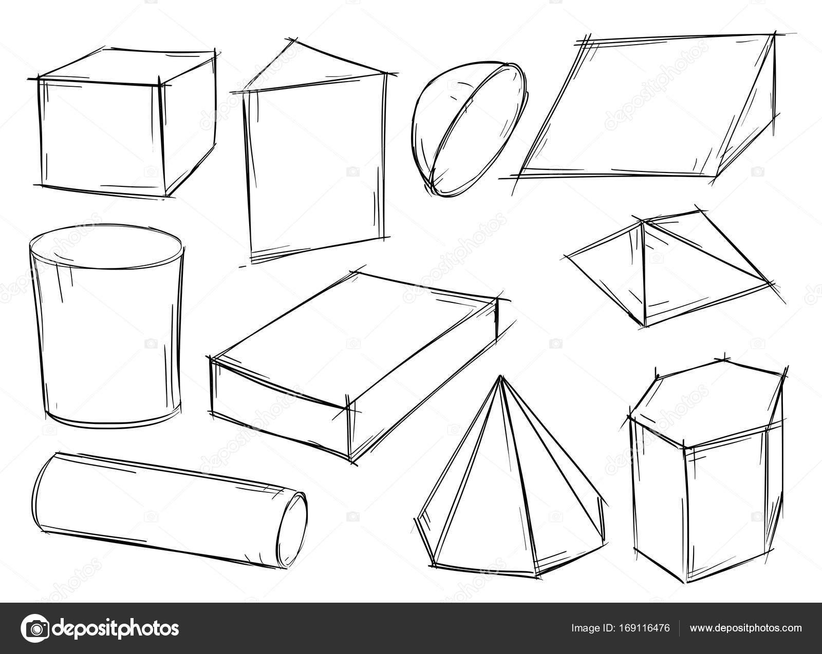 Yarım yamalak 3d geometrik şekiller kümesi — Stok Vektör