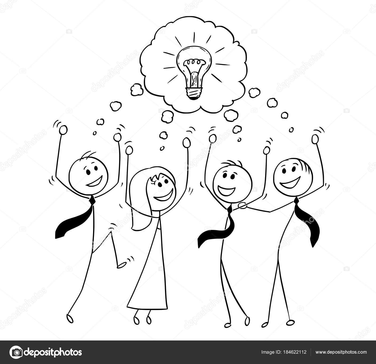 Caricature De L Equipe Des Activites Celebrant Le Remue