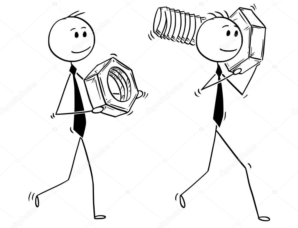 Cartoon of Two Businessmen Carrying Bolt and Nut as