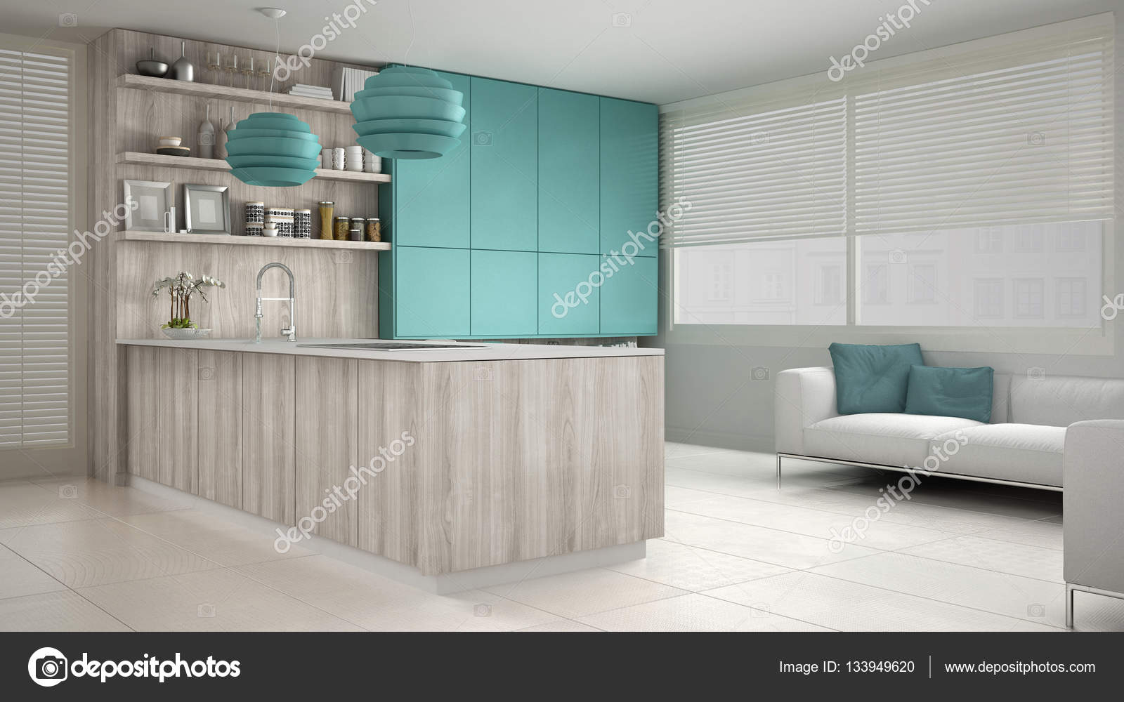 turquoise kitchen decor how to make a cabinet 木制和绿松石的细节 mi 简约白色的厨房 图库照片 c archiviz 133949620