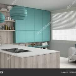 Turquoise Kitchen Decor Curtain Fabric For Sale 木制和绿松石的细节 Mi 简约白色的厨房 图库照片 C Archiviz 134048206