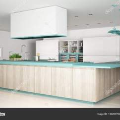 Turquoise Kitchen Decor Home Depot Backsplash Tile 木制和绿松石的细节 Mi 简约白色的厨房 图库照片 C Archiviz 134283782
