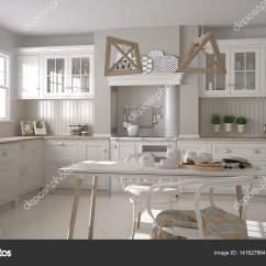 Kitchen Aid Classic Plus Maple Cabinets 斯堪的纳维亚经典白色厨房用木制的详细信息 Minimali 图库照片