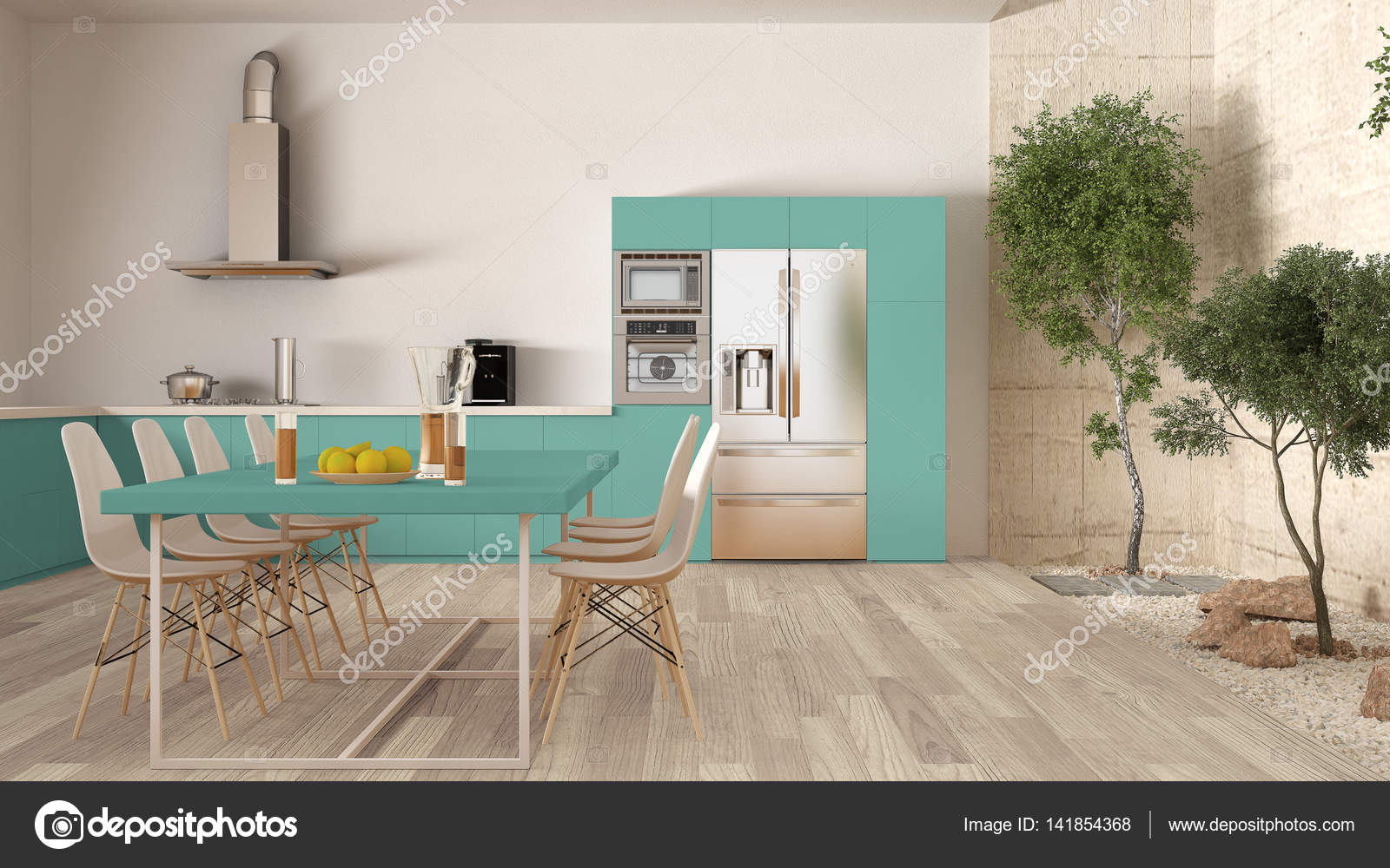 turquoise kitchen decor garage door 白和绿松石厨房内的花园 最小的内政 图库照片 c archiviz 141854368