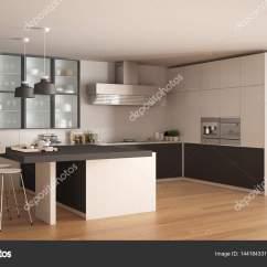 Wood Floors In Kitchen Real Cabinets Costco 经典的最小白色和灰色厨房 镶木地板 现代 图库照片 C Archiviz 144184331