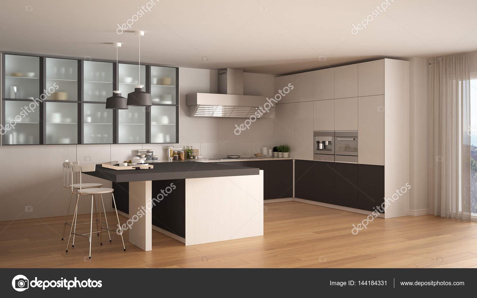 gray kitchen floor country island 经典的最小白色和灰色厨房 镶木地板 现代 图库照片 c archiviz 144184331