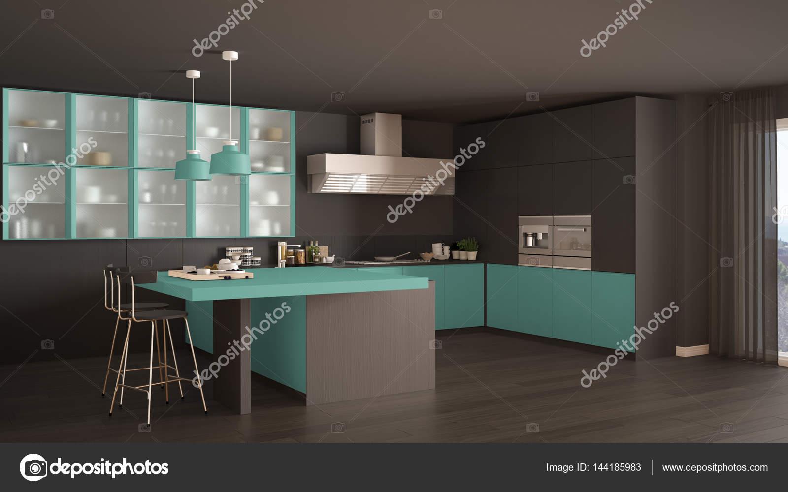 turquoise kitchen decor table and chairs ikea 经典的最小灰和绿松石厨房 镶木地板 m 图库照片 c archiviz 144185983 图库