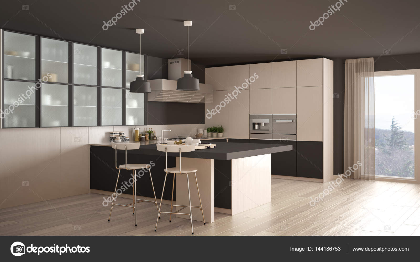 gray kitchen floor laminate countertop 经典的最小白色和灰色厨房 镶木地板 现代 图库照片 c archiviz 144186753