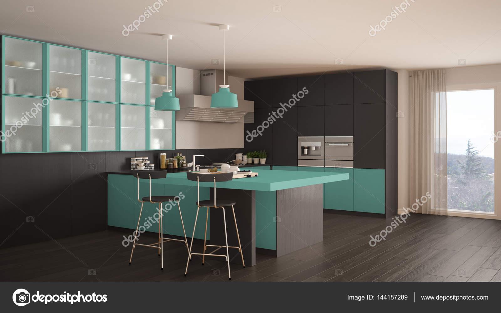 turquoise kitchen decor shears 经典的最小灰和绿松石厨房 镶木地板 m 图库照片 c archiviz 144187289 图库