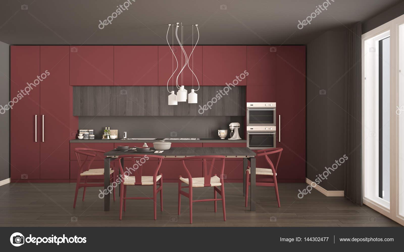wood floors in kitchen cabinet ideas for kitchens 现代最小红色厨房用木地板 经典室内d 图库照片 c archiviz 144302477