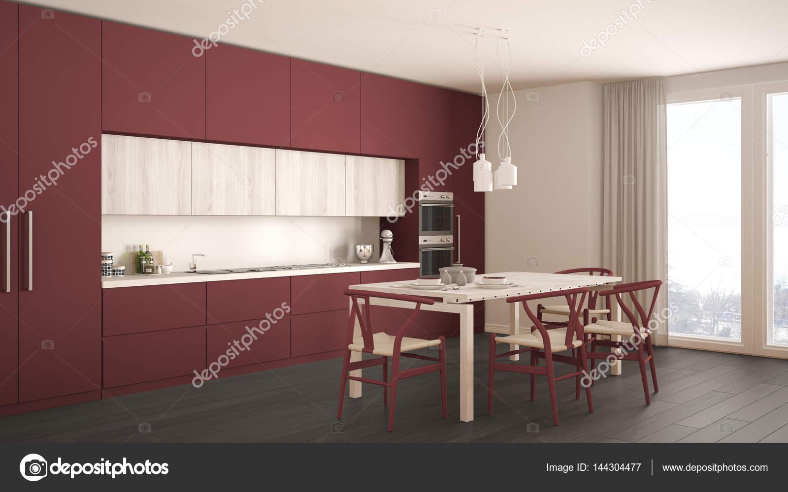 wood floors in kitchen aid products 现代最小红色厨房用木地板 经典室内d 图库照片 c archiviz 144304477