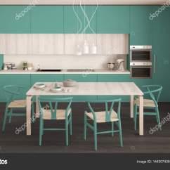 Turquoise Kitchen Decor Glass Table 现代最小绿松石厨房用木地板 经典的界面 图库照片 C Archiviz 144307439