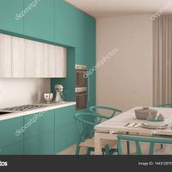Turquoise Kitchen Decor Storage Furniture 现代最小绿松石厨房用木地板 经典的界面 图库照片 C Archiviz 144312875