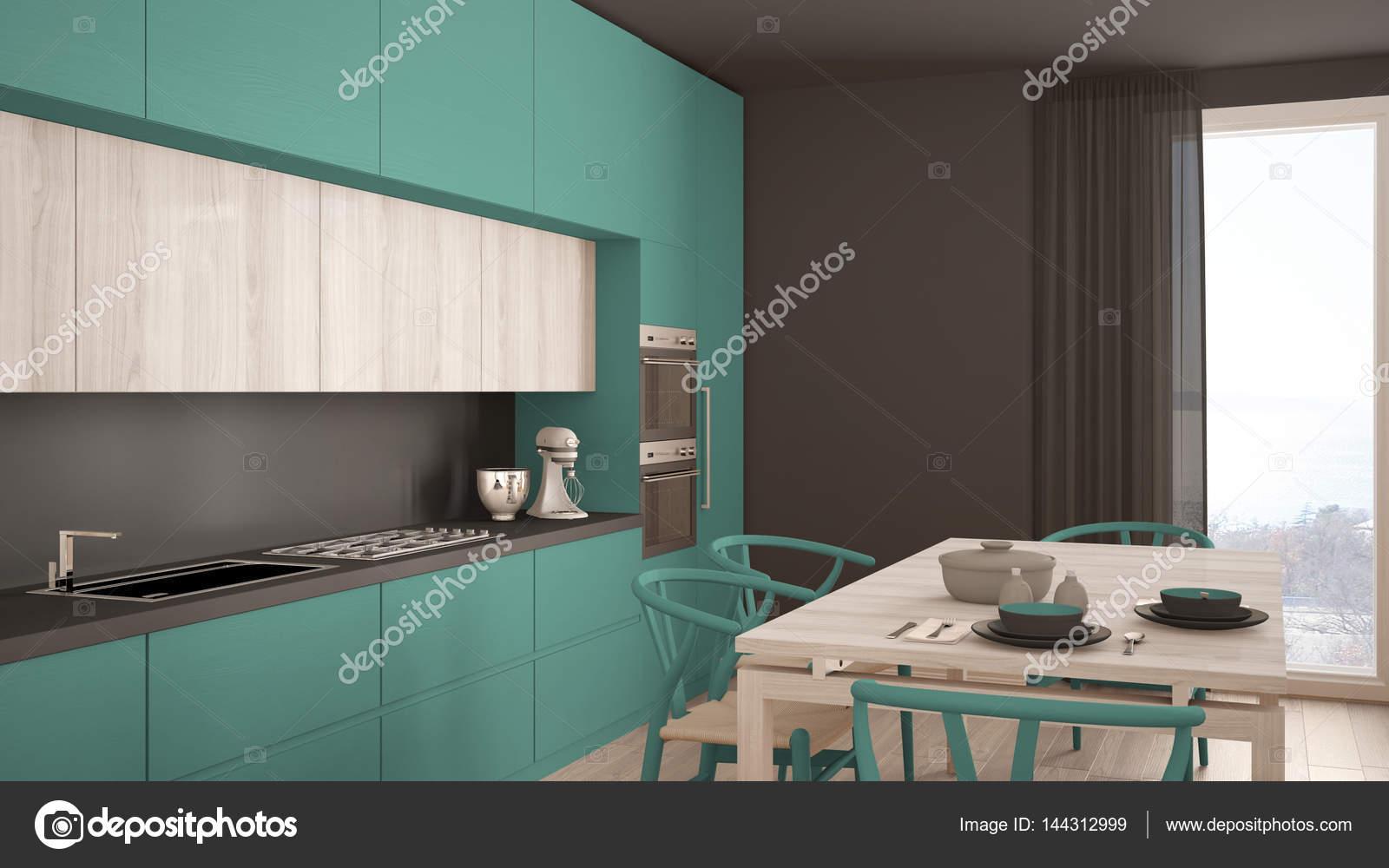 turquoise kitchen decor white floor 现代最小绿松石厨房用木地板 经典的界面 图库照片 c archiviz 144312999