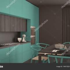 Turquoise Kitchen Decor How To Make An Outdoor 现代最小绿松石厨房用木地板 经典的界面 图库照片 C Archiviz 144313221