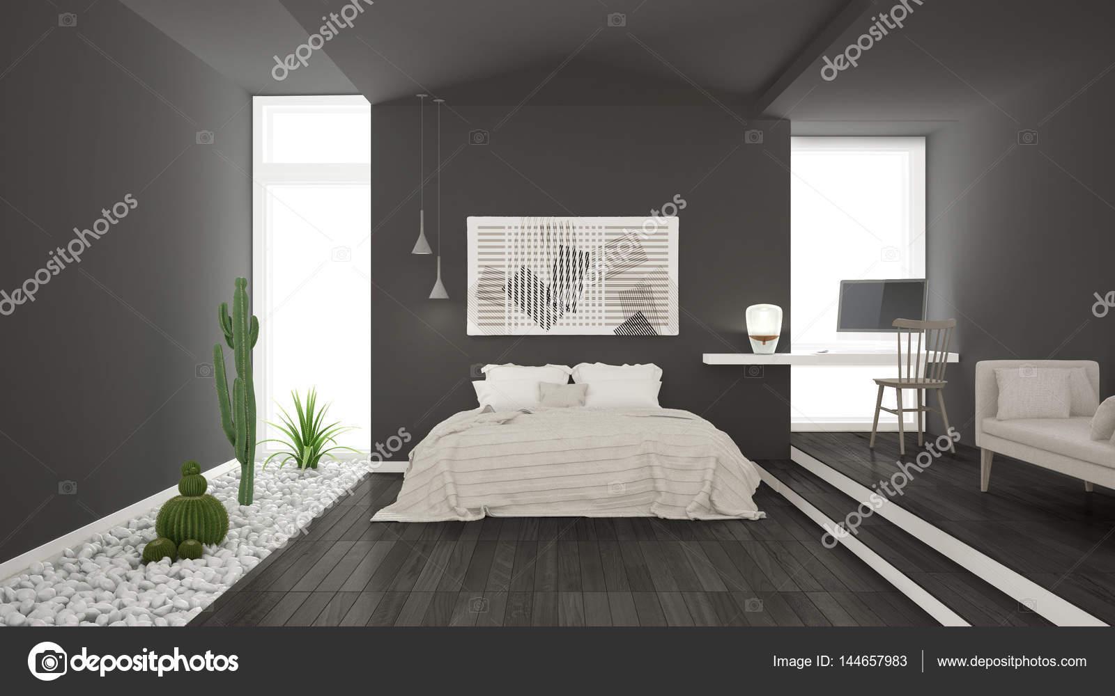 Scandinavische minimalistisch grijze slaapkamer met
