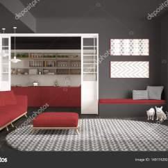 Large Kitchen Rug Rolling Chairs 极简主义生活一会议室的沙发上 又大又圆的地毯和厨房 图库照片 极简主义客厅的沙发上 又大又圆的地毯和背景 灰色和红色的现代室内设计中的厨房 照片作者archiviz
