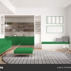 Large Kitchen Rug Magnetic Timer 极简主义生活一会议室的沙发上 又大又圆的地毯和厨房 图库照片 极简主义客厅的沙发上 又大又圆的地毯和背景 白色和绿色的现代室内设计中的厨房 照片作者archiviz