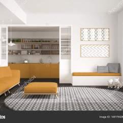 Yellow Kitchen Rugs Cost Of A Remodel 极简主义生活一会议室的沙发上 又大又圆的地毯和厨房 图库照片 极简主义客厅的沙发上 又大又圆的地毯和背景 白色和黄色的现代室内设计中的厨房 照片作者archiviz