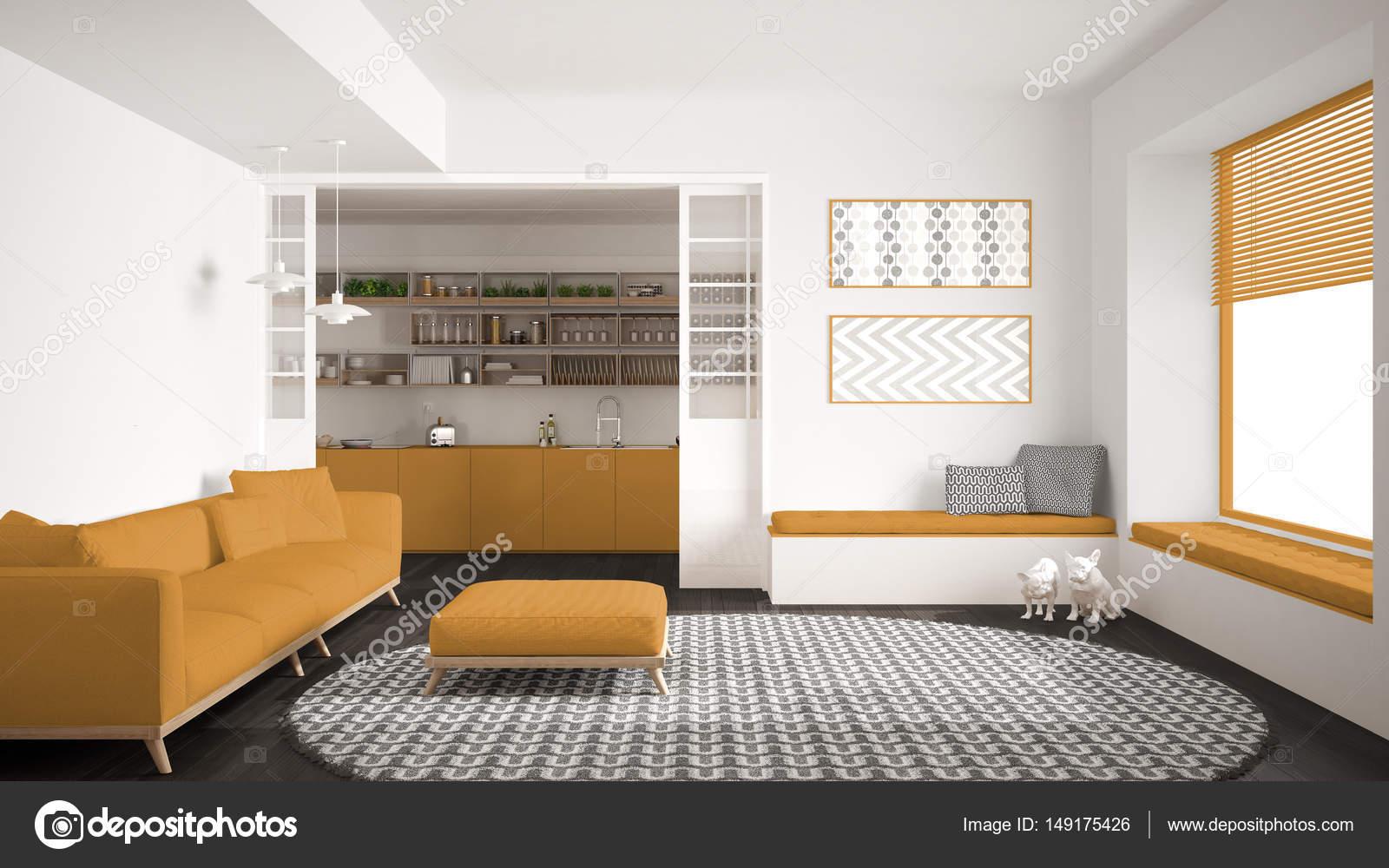 large kitchen rug holiday rugs 极简主义生活一会议室的沙发上 又大又圆的地毯和厨房 图库照片 极简主义客厅的沙发上 又大又圆的地毯和背景 白色和黄色的现代室内设计中的厨房 照片作者archiviz