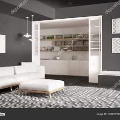 Large Kitchen Rug Aid Microwave 极简主义生活一会议室的沙发上 又大又圆的地毯和厨房 图库照片 极简主义客厅的沙发上 又大又圆地毯和灰色的背景下 现代室内设计中的厨房 照片作者archiviz