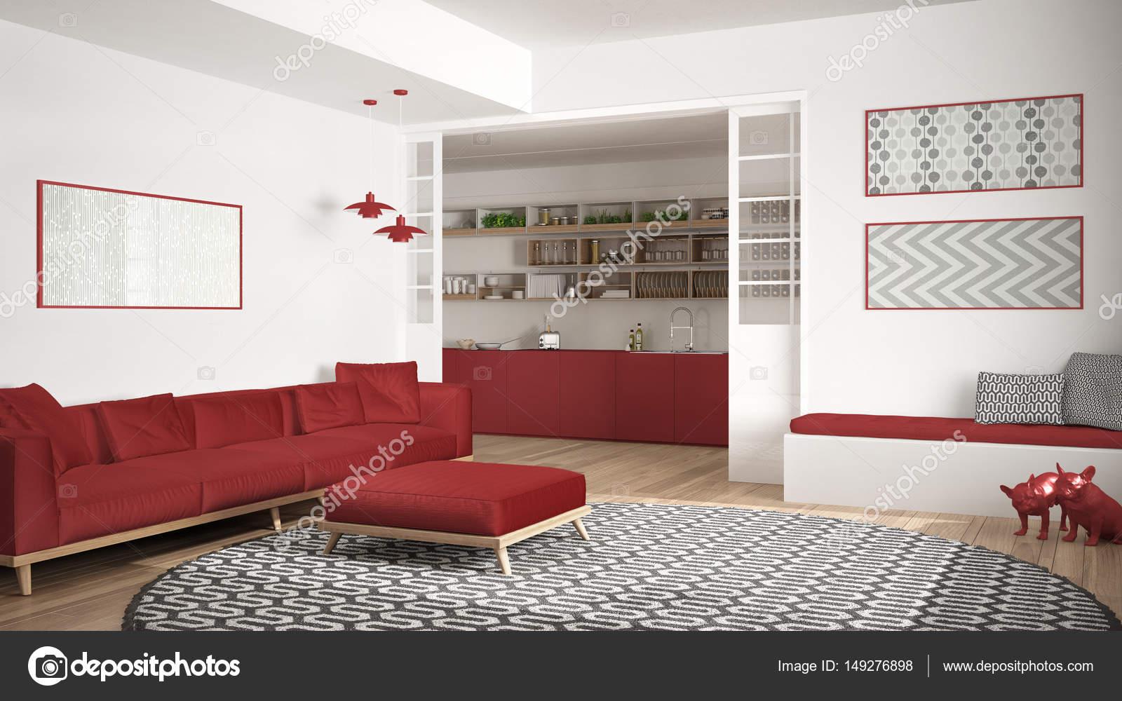 large kitchen rug aid washer 极简主义生活一会议室的沙发上 又大又圆的地毯和厨房 图库照片 极简主义客厅的沙发上 又大又圆的地毯和背景 白色和红色的现代室内设计中的厨房 照片作者archiviz