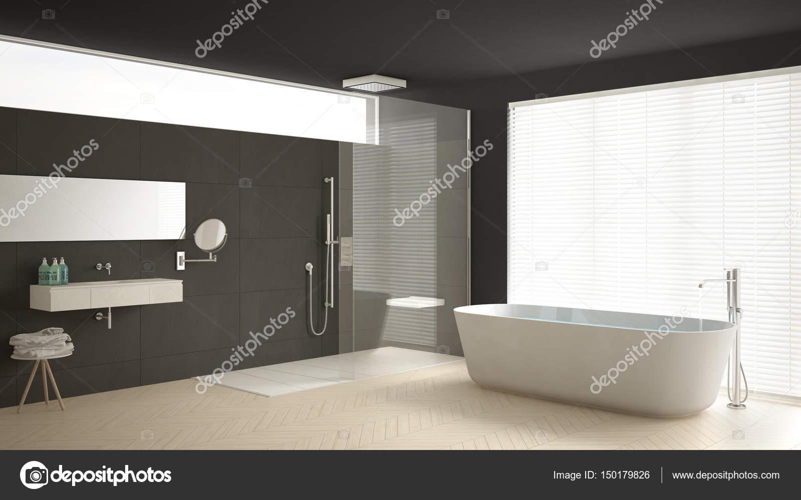 Stanza da bagno con vasca e doccia pavimento in parquet e m minimalista  Foto Stock  ArchiVIz