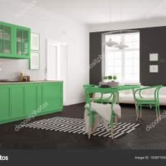 Kitchen Dining Tables Touchless Faucet 极简主义的现代厨房餐桌和客厅 Whi 图库照片 C Archiviz 153971534