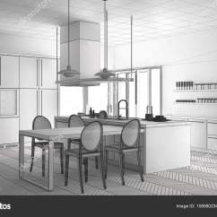 Kitchen Table Round Single Handle Pullout Faucet Repair 未完成的项目的简约现代厨房的桌子 Ch 图库照片 C Archiviz 158980234