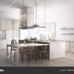 Modern Kitchen Table Cabinets With Glass Doors 未完成的项目的简约现代厨房的桌子 Ch 图库照片 C Archiviz 158980480