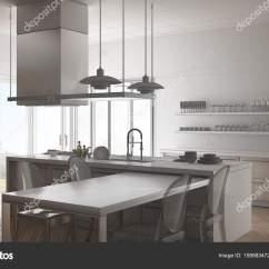 Modern Kitchen Table Tiny Remodel 未完成的项目的简约现代厨房的桌子 Ch 图库照片 C Archiviz 158983472