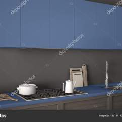 Navy Blue Kitchen Decor Island Dining Table 现代厨房与木的详细资料关闭 蓝色海军minimalis 图库照片 C Archiviz