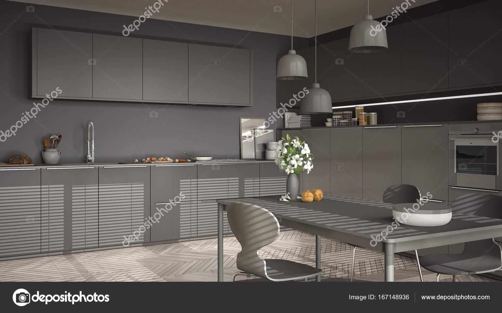modern kitchen table commercial kitchens 现代厨房的桌子和椅子 大窗户和herringbon 图库照片 c archiviz 167148936