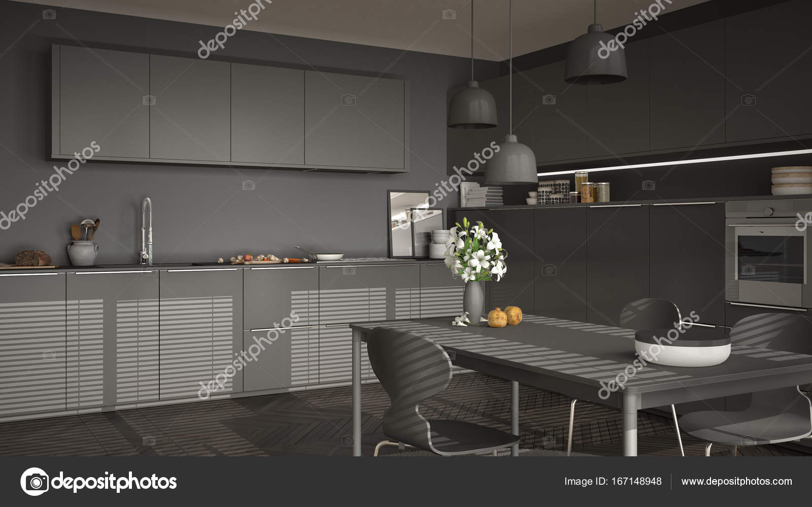 modern kitchen tables pull down cabinets for the disabled 现代厨房的桌子和椅子 大窗户和herringbon 图库照片 c archiviz 167148948