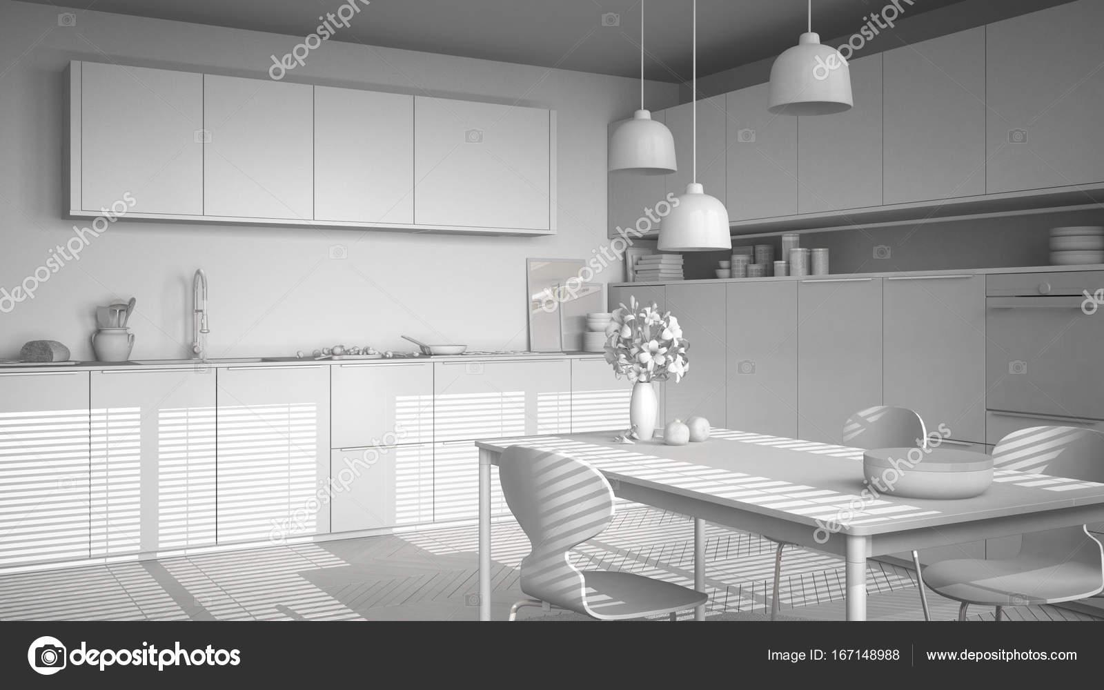chairs for kitchen table sink drain size 白项目总的现代厨房 桌子和椅子 她 图库照片 c archiviz 167148988
