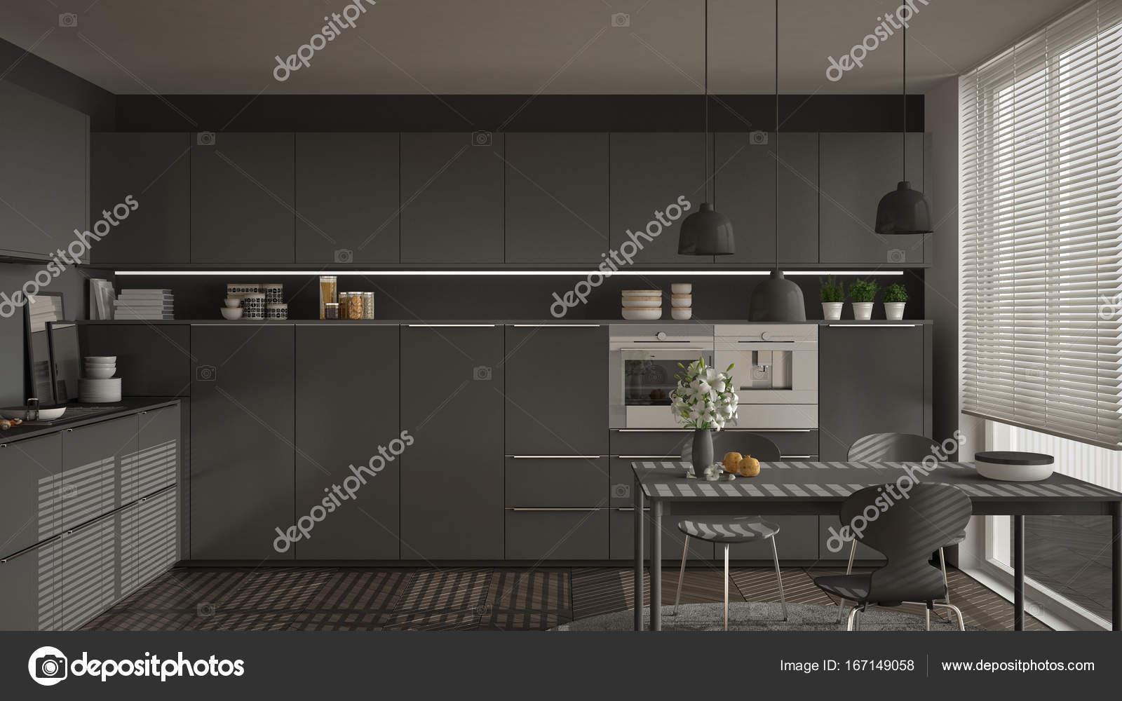 modern kitchen table vintage posters for 现代厨房的桌子和椅子 大窗户和herringbon 图库照片 c archiviz 167149058