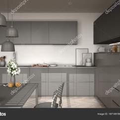 Kitchen Desk Hutch Ideas 现代厨房与桌椅 人字镶木地板 图库照片 C Archiviz 167149156 现代厨房的桌子和椅子 白色和灰色简约的室内设计 照片作者archiviz
