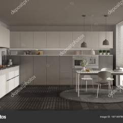 Large Kitchen Table Basket 现代厨房的桌子和椅子 大窗户和herringbon 图库照片 C Archiviz 167149798