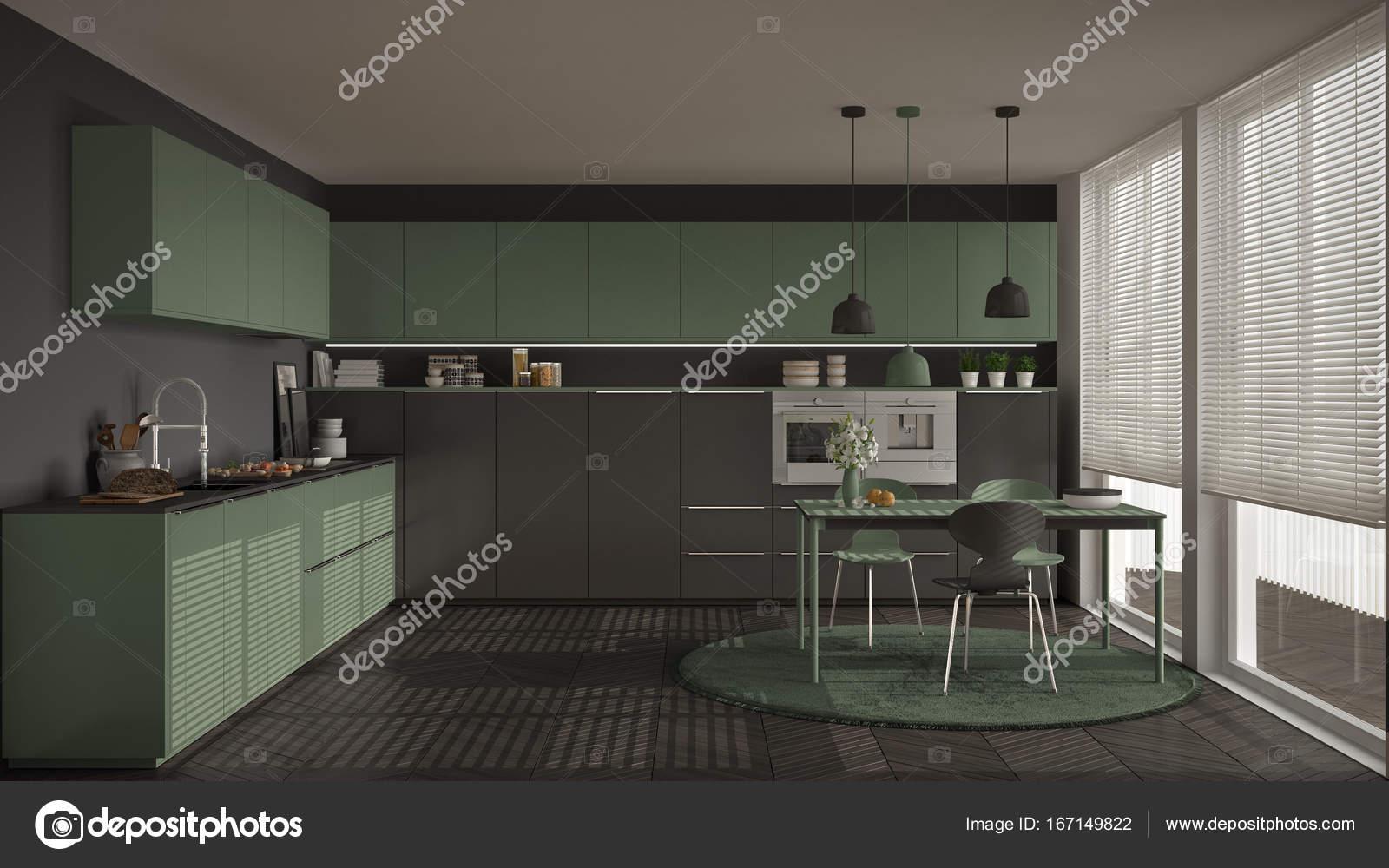 large kitchen table tall wall cabinets 现代厨房的桌子和椅子 大窗户和herringbon 图库照片 c archiviz 167149822 现代的厨房桌子和椅子 大窗户和人字镶木地板 灰色和桃金娘绿色简约的室内设计 照片作者archiviz