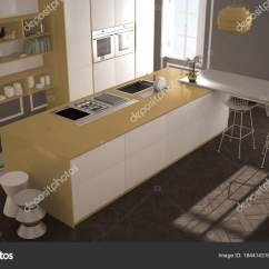 Modern Kitchen Stools Table Bench 现代厨房在古典内饰 海岛与凳子和二个大窗口 顶部看法 白色和黄色建筑