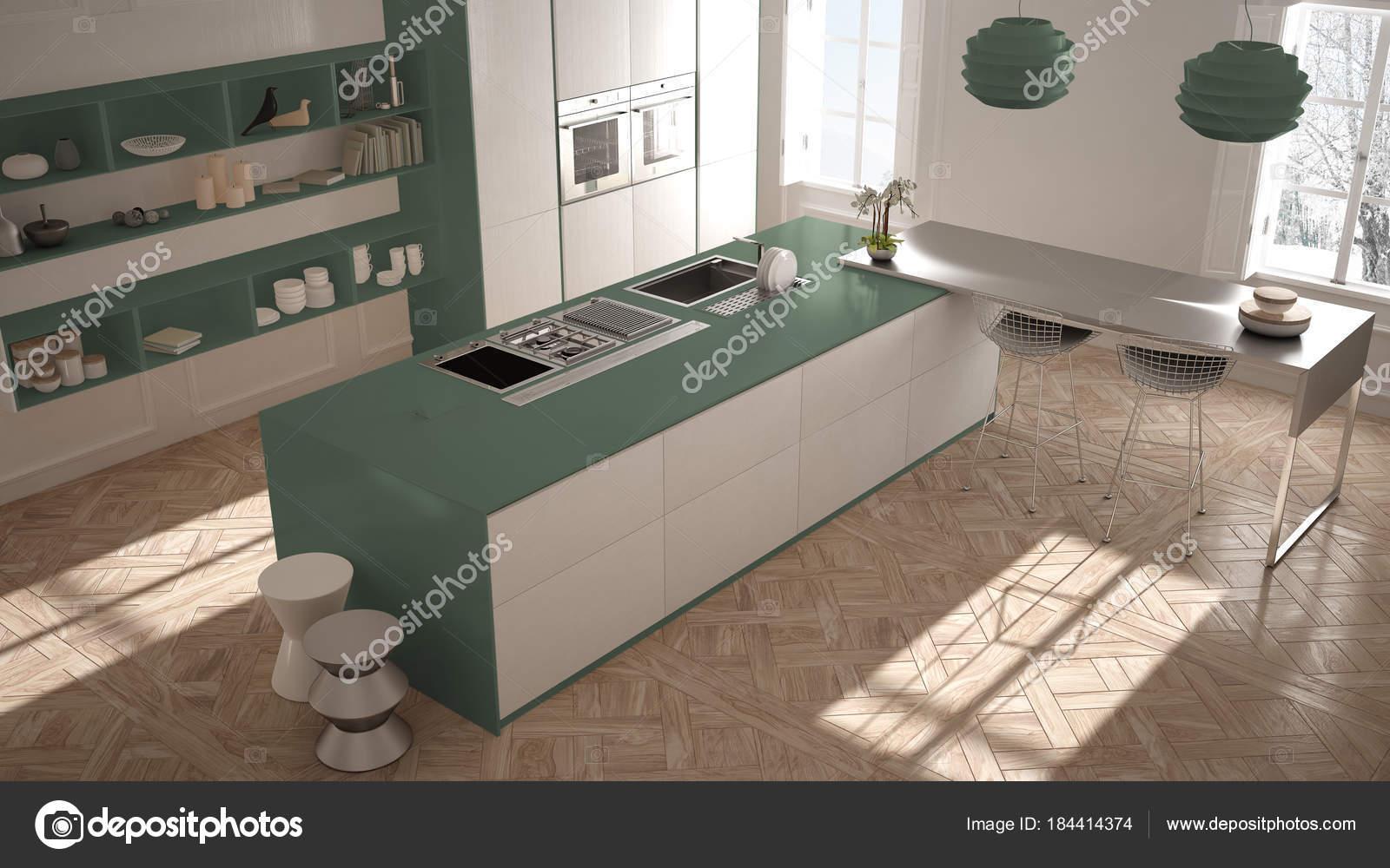 modern kitchen stools designs of small modular 现代厨房在古典内饰 海岛与凳子和二个大窗口 顶部看法 白色和绿色建筑